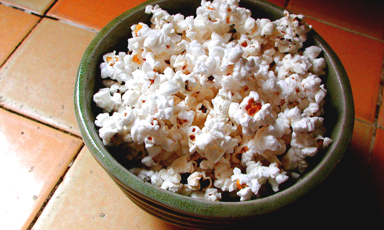 Bowl of DIY microwave popcorn